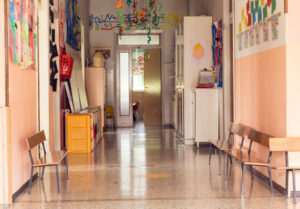 clean daycare center hallway