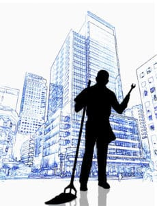 illustration man with broom building